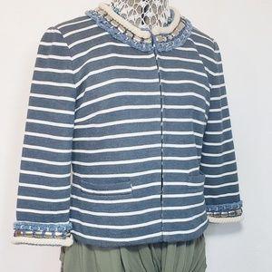 Boston Proper Cropped Striped Jeweled Jacket
